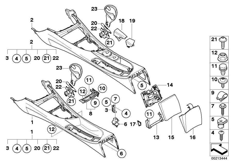 BMW 128i Bracket, centre console rear. Body, Armrest, Trim