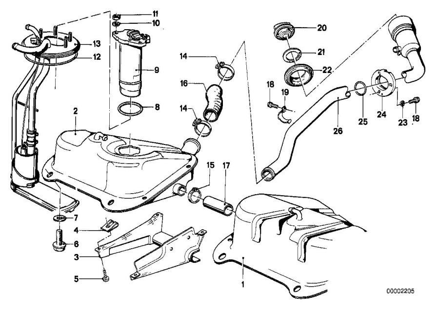 BMW 320i Sending unit assy metal tank. Fuel, system, feed