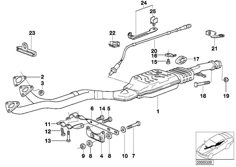 BMW 320i Bracket. GETRAG. Exhaust, FRONT, CONVERTER