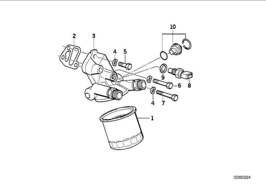 BMW M3 Oil temperature switch. Motor. Lubrication, system