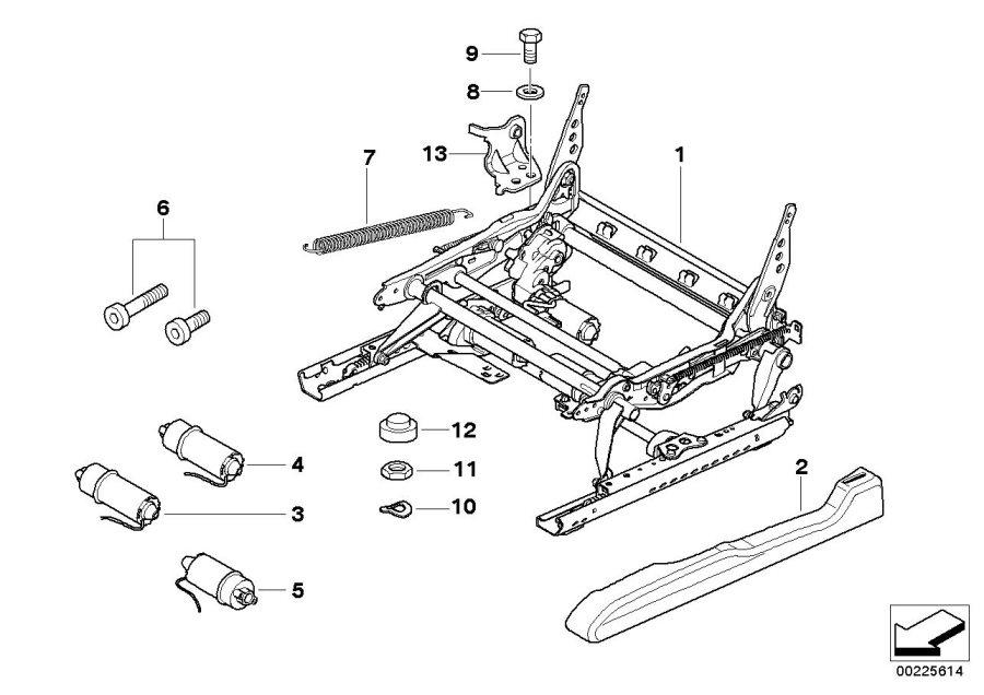 BMW X5 Actuator, backrest adjustment. Front, Seat