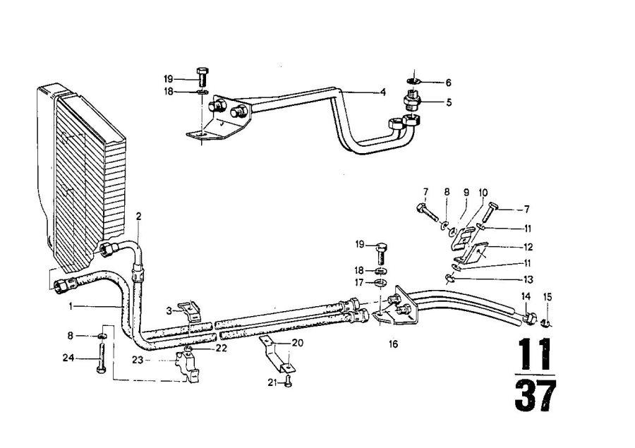 BMW 3.0S Oil cooling pipe. Radiator, engine, bavaria