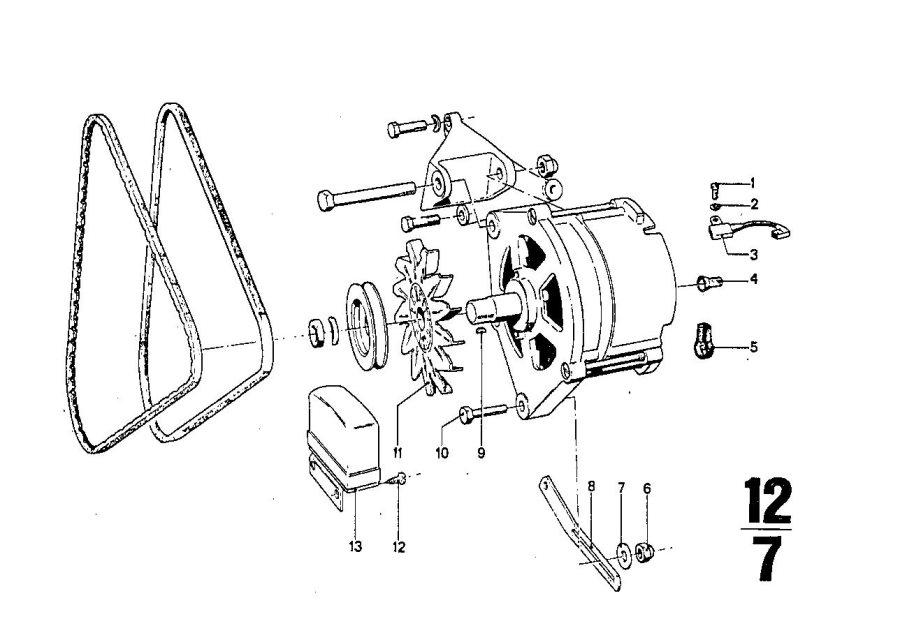 BMW 2800 Voltage regulator. Alternatormounting