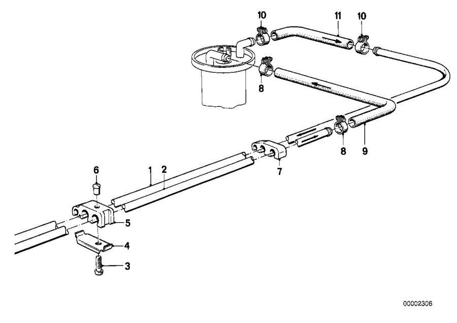 BMW 325e Self tapping screw. Pipe, Brake, Fuel