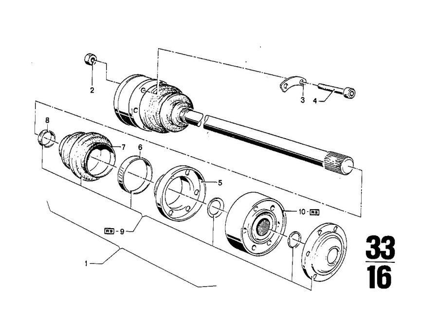 BMW 2800 Repair kit bellows. Bavaria, Shaft, Output