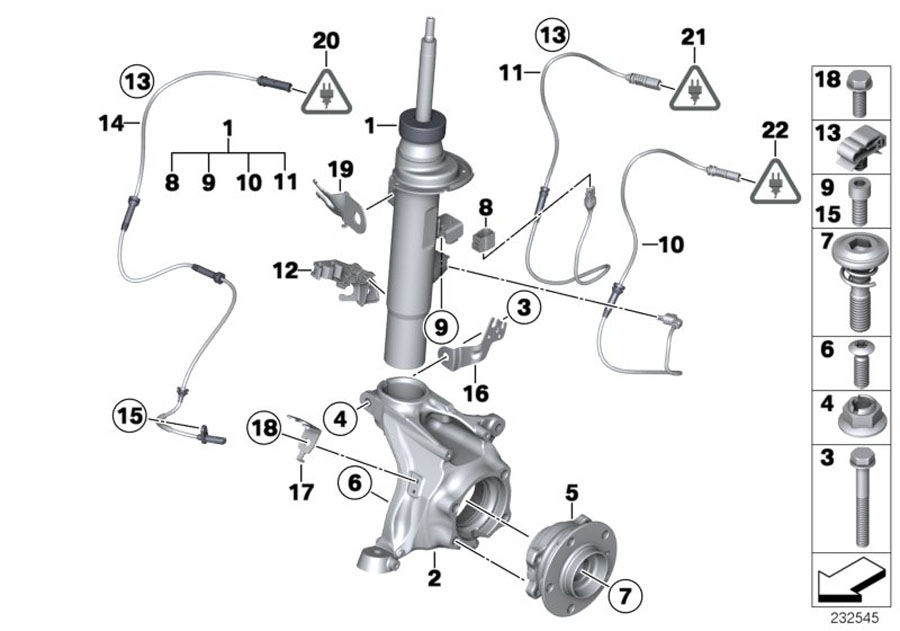 BMW X3 Left front spring strut. Suspension, struts, shocks