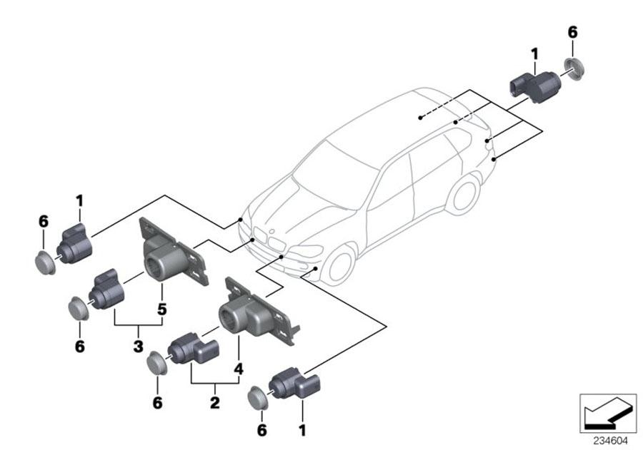 BMW X5 Support, PDC-sensor interior left. Bumper