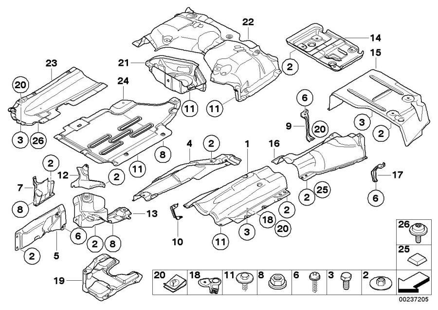 BMW 323i Fuel tank heat insulation. Trim, body