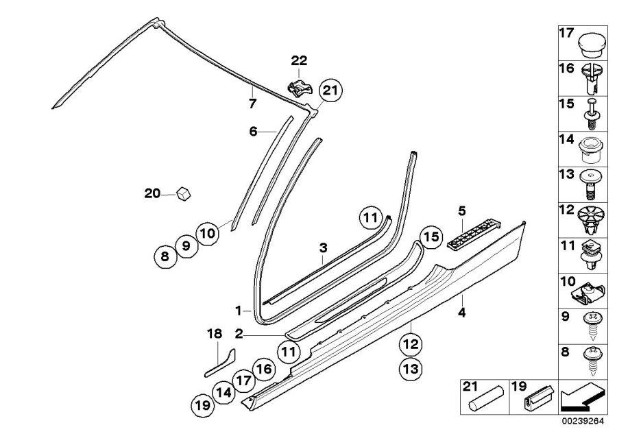 BMW M3 Clip, grey. L=14, 85MM. Equipment, Interior, Trim