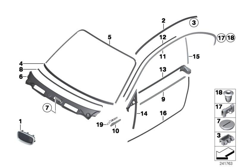 BMW 128i cover, windscreen panel. Trim, Exterior, Body