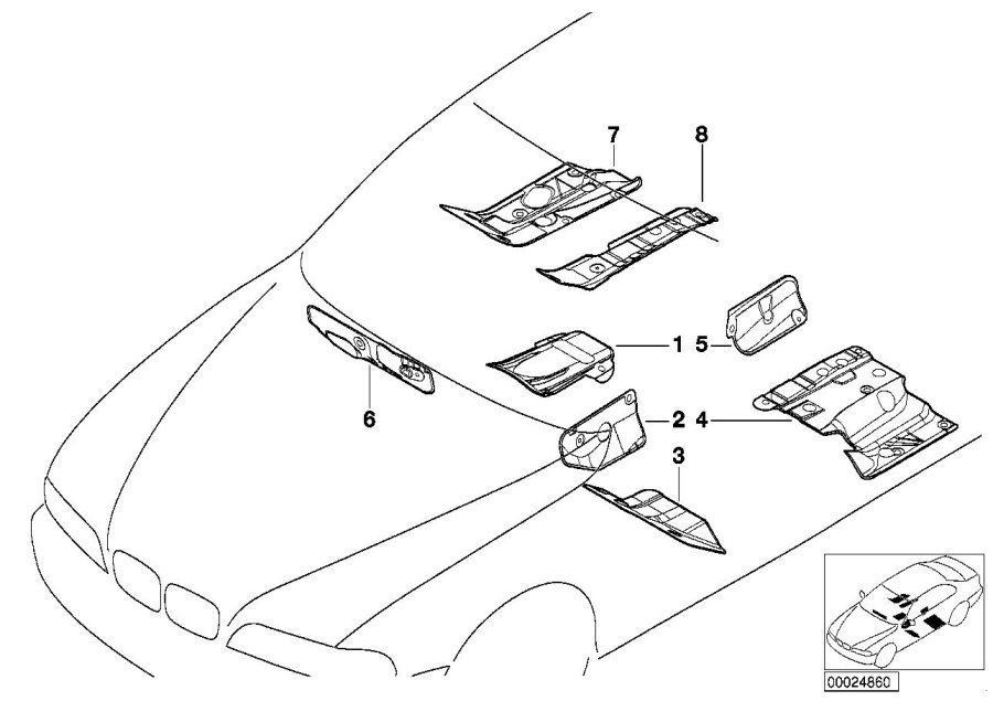 BMW 540i Right inner floor multilayer damping