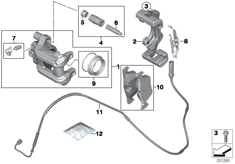 BMW 328iX Repair set brake caliper. Sensor, rear, pad