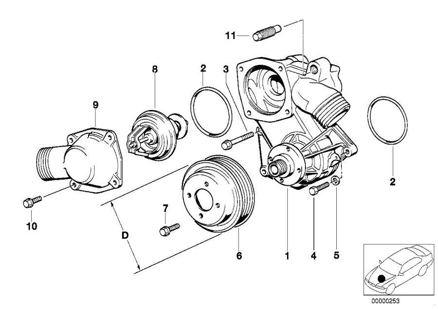 BMW 850CSi Pulley. D=109MM. Engine, BELT, FAN