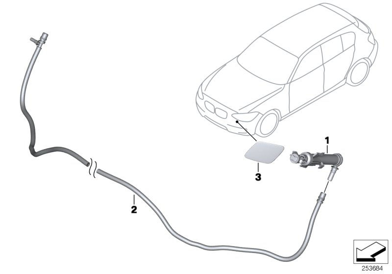 BMW 340iX Hose line, headlight cleaning system. LAMP