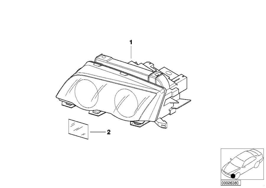 BMW 330xi Headlight xenon, left. TITAN. System, Electrical
