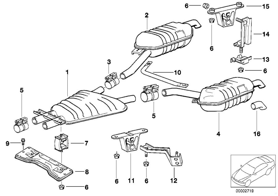 BMW 750iL Rear silencer, left. Exhaust, System
