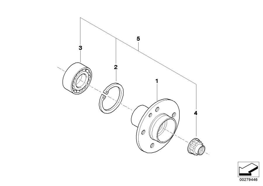 BMW 325is Drive flange hub. Wheel, Bearings, Suspension