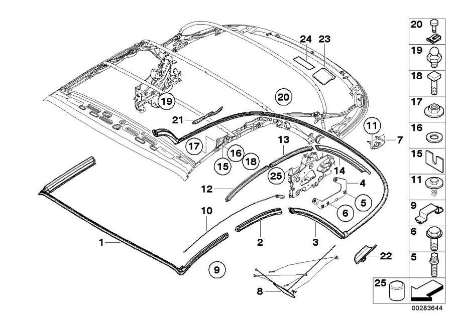 BMW 128i Ball pin, hydraulic cylinder. Top, Folding