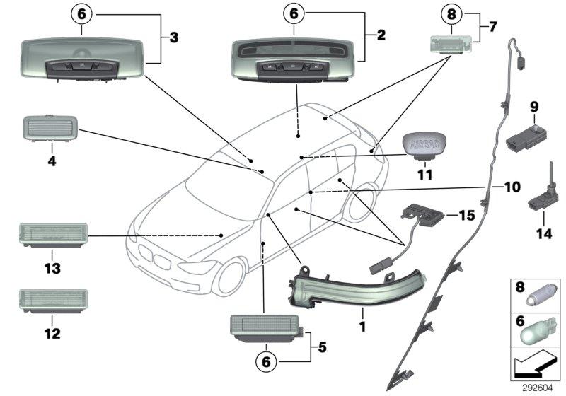 BMW 540i Interior light. 10W. ALPINA, Various, Lamps