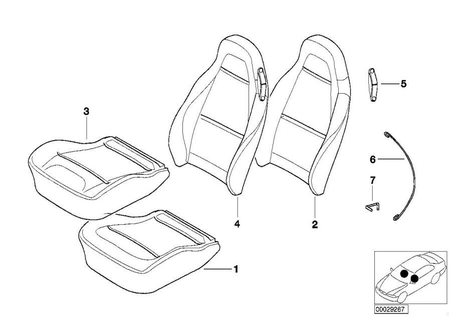 BMW Z3 Cover backrest, leather, left. R7CP, R8CP BRAUN