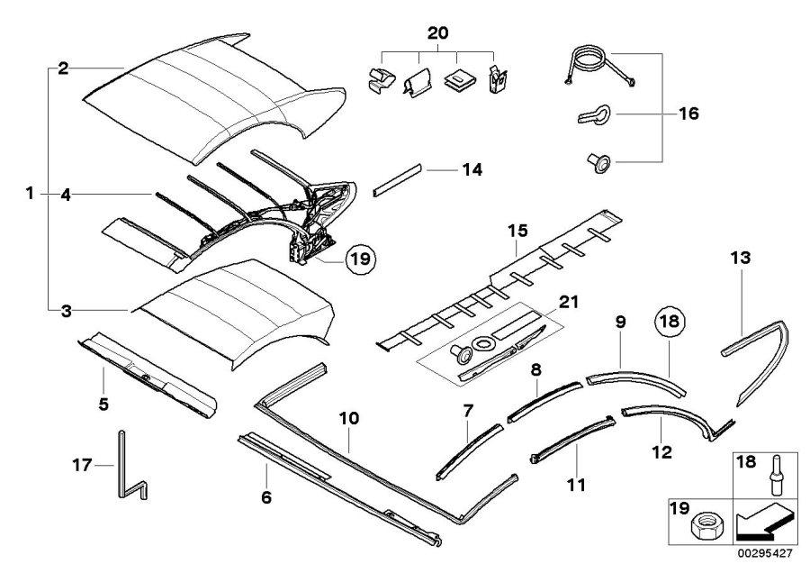 BMW 645Ci Convertible top linkage rods. Folding, Trim