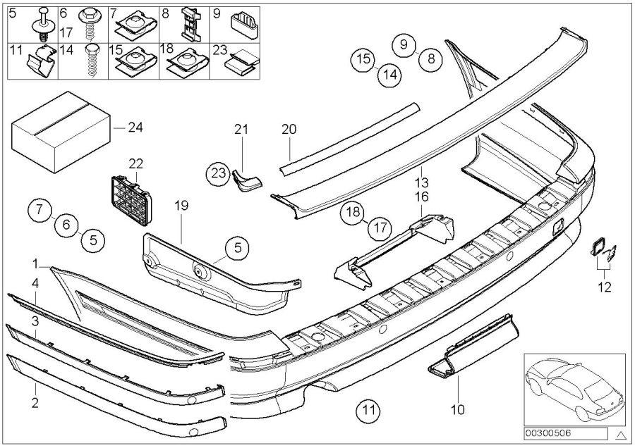BMW 525i Bumper trim panel, primed, rear. Body