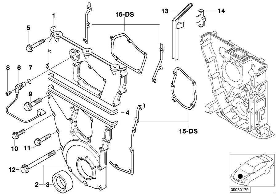 BMW 318i Timing case cover, bottom. Engine, Housing