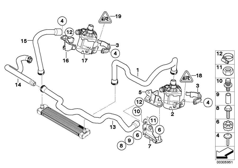 BMW X6 Holder, electric coolant pump. Cooling, Hoses