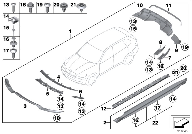 BMW X5 Attachm. Part, trim panel, bumper, front. ERSATZ