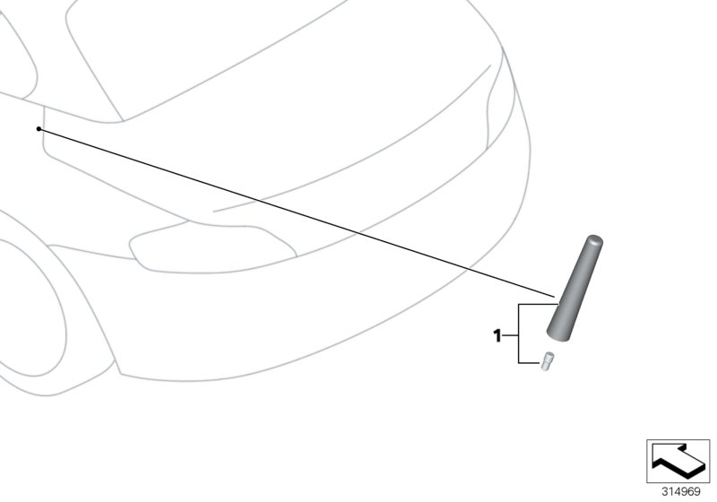 BMW 330Ci Bmw roof aerial, sport. 83 mm. Antenna