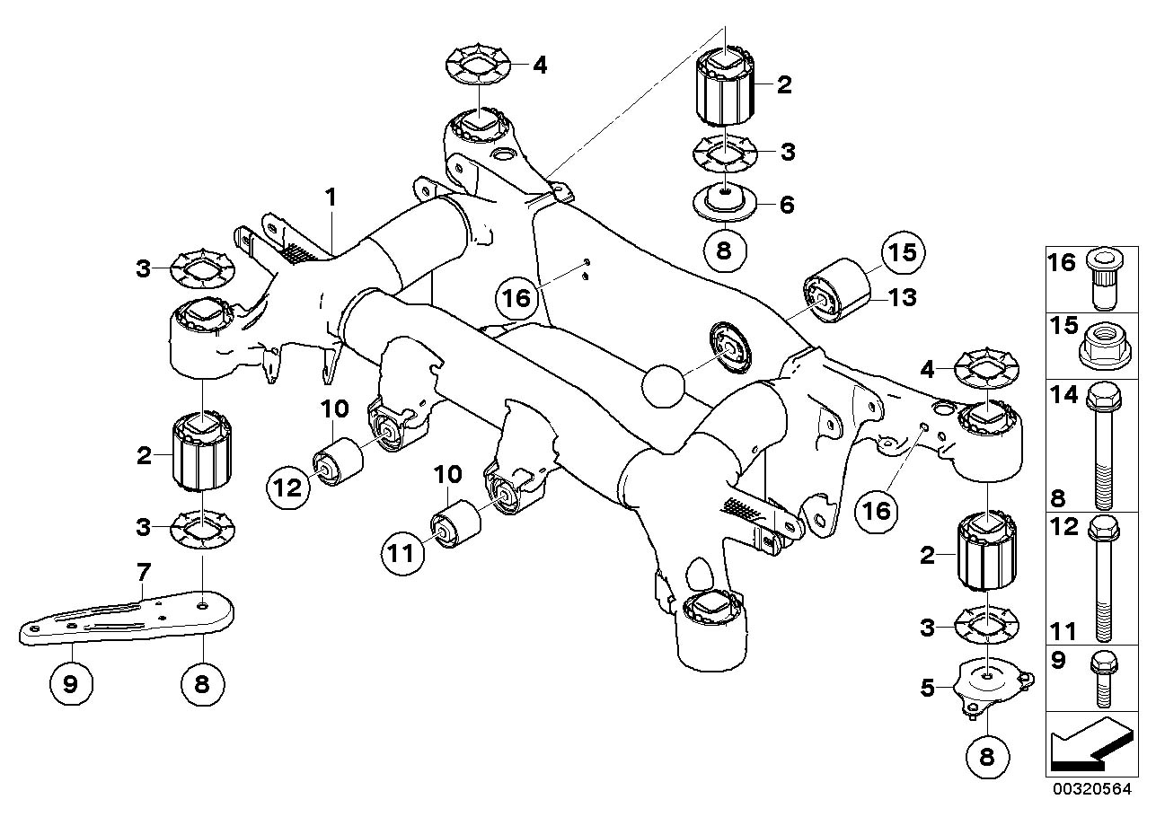 BMW 650i Rubber Mounting. Axle, Suspension, Rear, Carrier