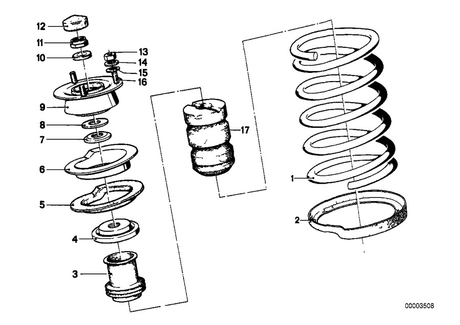 BMW 530i Coil spring. Weiss. Front, bavaria, suspension