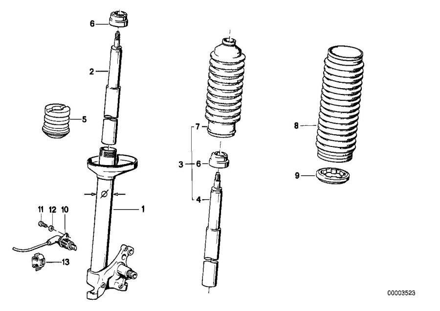 BMW 318i Shock absorber-insert. Boge. Front, suspension