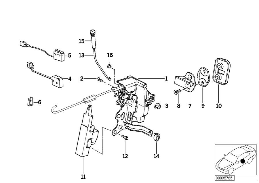 BMW 850CSi Actuator f front door. Trim, key, locking