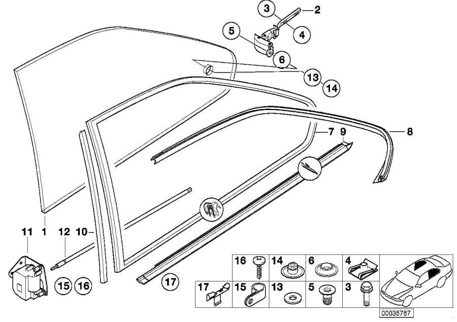 BMW 325is Left vent window gasket. Schwarz. Trim, body