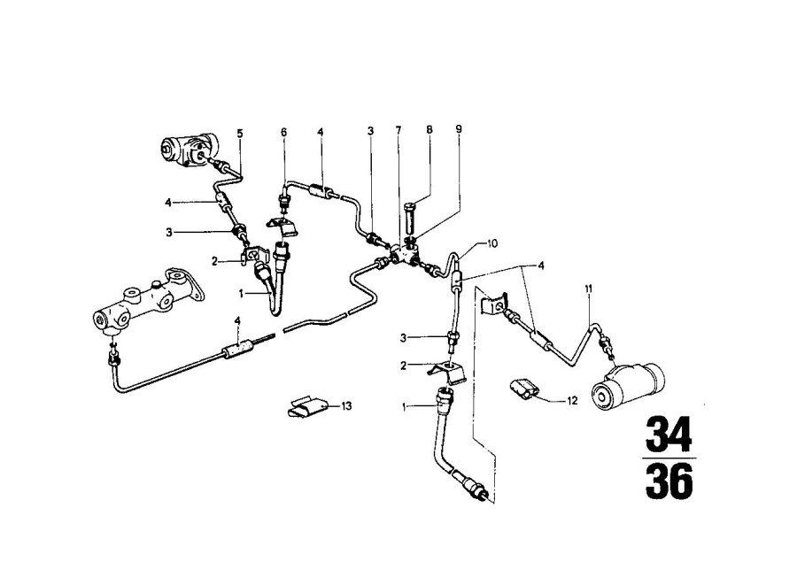 BMW 2002 Brake hose rear. L=222MM. Bavaria, Zyl, Pipe