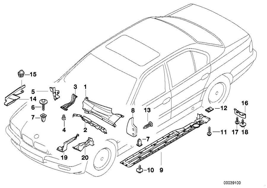BMW 740iLP Cover headlamps left. Body, various