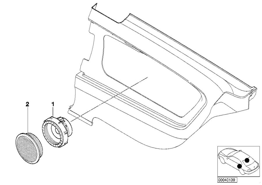 BMW 330Ci Cover Loudspeaker. HELLBEIGE. Trim, HiFi, Rear
