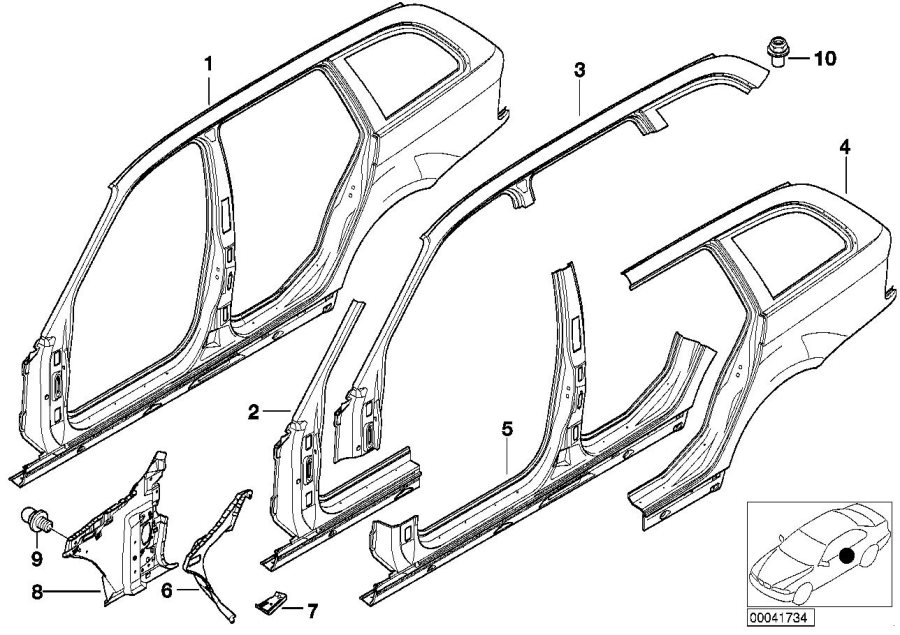BMW 325i Connect.plate f.right side panel frame. Body