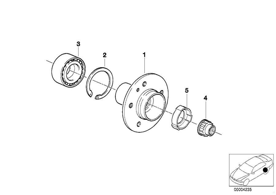 BMW 840Ci Collar nut. M27X1, 5. QMV, Cage, Bearings, Ball