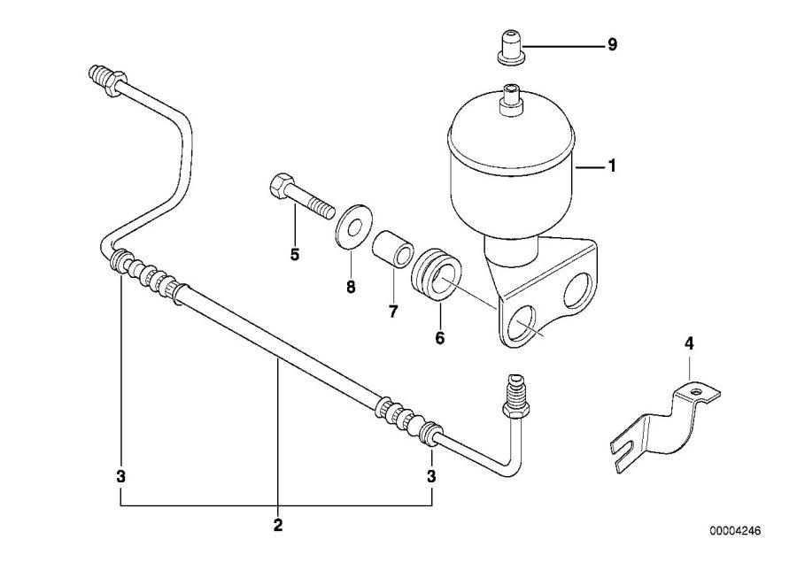 BMW 740iL Pressure hose assy left. Levelling, suspension