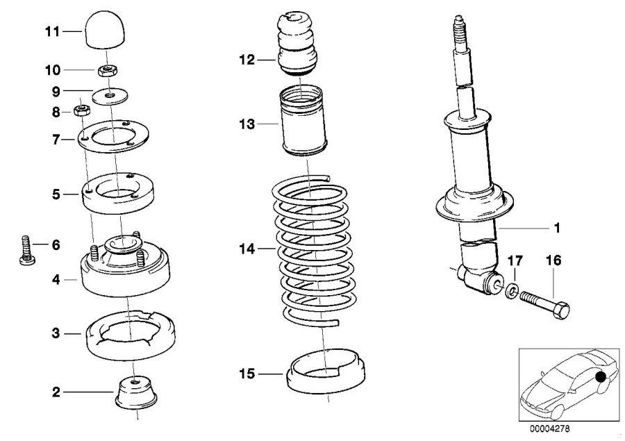 BMW 735i Coil spring. Rear, suspension, strut, axle