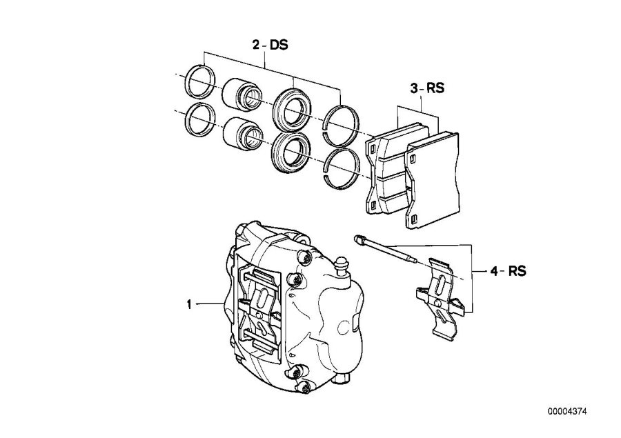 BMW 733i Repair kit, brake pads asbestos-free. TEXTAR T476