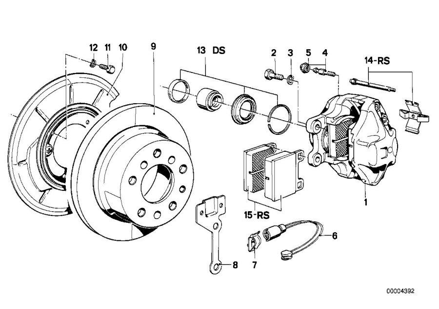 BMW 733i Repair kit, brake pads asbestos-free. TEXTAR T477