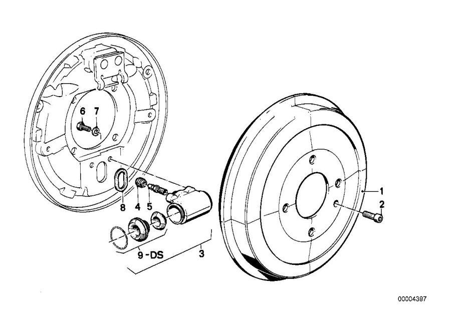 BMW 318i Dust cap. Drum, slave, scheibenbremse, cyl