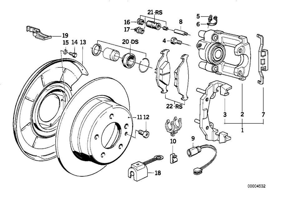 BMW 750iL Repair set brake caliper. Rear, pad, sensor