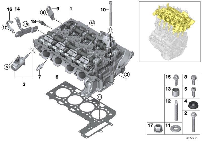 BMW 530i Vanos central valve. Timing, cylinder, chain