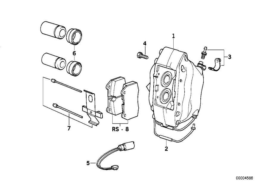 BMW 840Ci Set mounting parts. Brake, Sensor, Pad