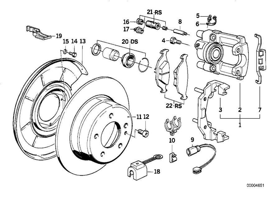BMW 733i Brake disk. 282X12. Sensor, Rear, Pad