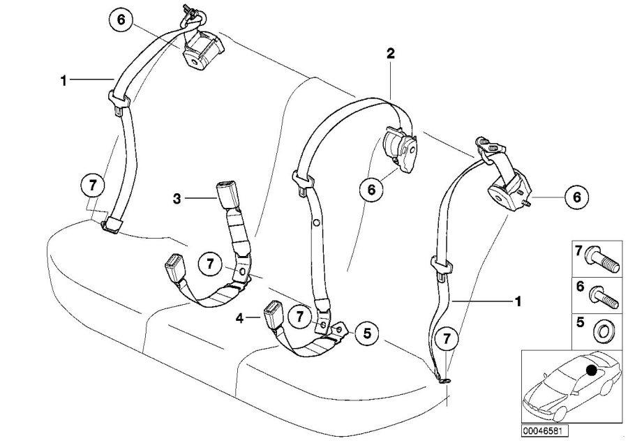 BMW 325i Upper belt rear. Safety, electrical, system